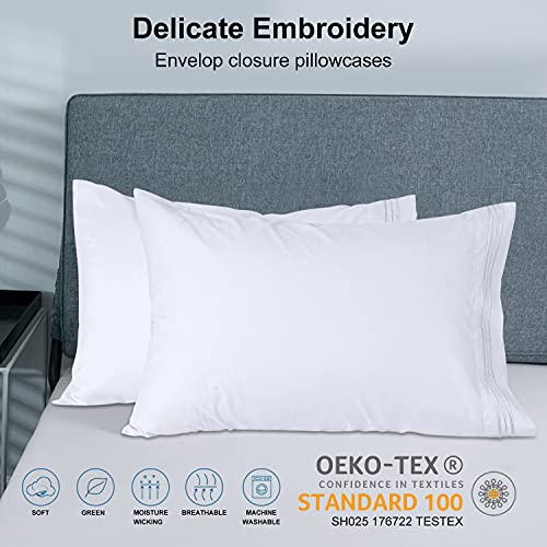 Bed Sheets Set Queen Size Anvo Luxury Thicker Microfiber Sheets Hypoallergenic Soft 1800 Thread Count 16 Inch Deep Pocket White 4PC 0 2