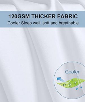 Bed Sheets Set Queen Size Anvo Luxury Thicker Microfiber Sheets Hypoallergenic Soft 1800 Thread Count 16 Inch Deep Pocket White 4PC 0 3 300x360