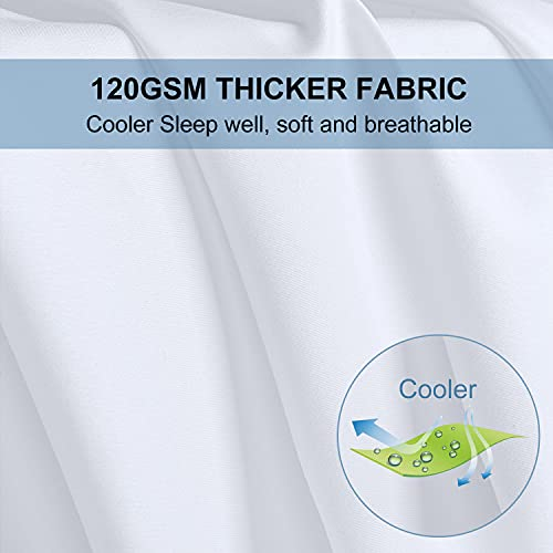 Bed Sheets Set Queen Size Anvo Luxury Thicker Microfiber Sheets Hypoallergenic Soft 1800 Thread Count 16 Inch Deep Pocket White 4PC 0 3