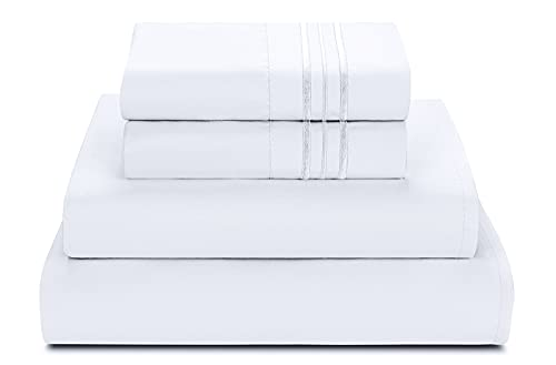 Bed Sheets Set Queen Size Anvo Luxury Thicker Microfiber Sheets Hypoallergenic Soft 1800 Thread Count 16 Inch Deep Pocket White 4PC 0