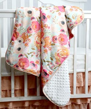 Boho Coral Floral Ruffle Skirt Baby Minky Blanket Peach Floral Nursery Crib Skirt Set Baby Girl Crib Bedding Feather Blanket Poppy Watercolor Floral 3pc Set 0 0 300x360