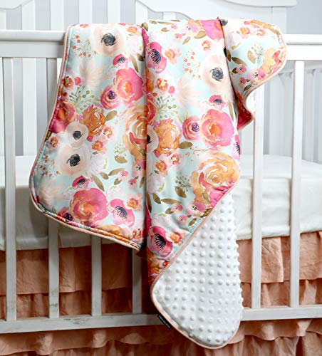 Boho Coral Floral Ruffle Skirt Baby Minky Blanket Peach Floral Nursery Crib Skirt Set Baby Girl Crib Bedding Feather Blanket Poppy Watercolor Floral 3pc Set 0 0