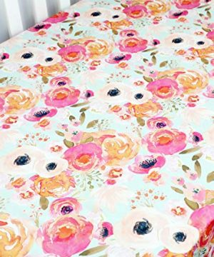Boho Coral Floral Ruffle Skirt Baby Minky Blanket Peach Floral Nursery Crib Skirt Set Baby Girl Crib Bedding Feather Blanket Poppy Watercolor Floral 3pc Set 0 1 300x360