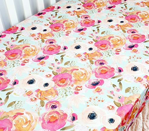 Boho Coral Floral Ruffle Skirt Baby Minky Blanket Peach Floral Nursery Crib Skirt Set Baby Girl Crib Bedding Feather Blanket Poppy Watercolor Floral 3pc Set 0 1