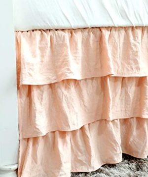 Boho Coral Floral Ruffle Skirt Baby Minky Blanket Peach Floral Nursery Crib Skirt Set Baby Girl Crib Bedding Feather Blanket Poppy Watercolor Floral 3pc Set 0 2 300x360