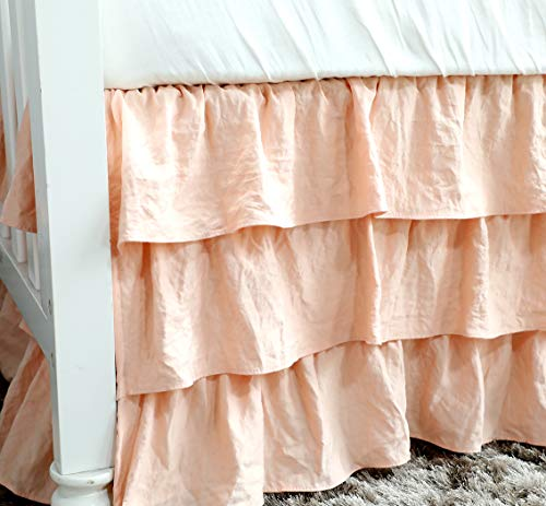 Boho Coral Floral Ruffle Skirt Baby Minky Blanket Peach Floral Nursery Crib Skirt Set Baby Girl Crib Bedding Feather Blanket Poppy Watercolor Floral 3pc Set 0 2