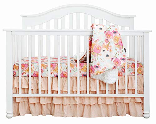 Boho Coral Floral Ruffle Skirt Baby Minky Blanket Peach Floral Nursery Crib Skirt Set Baby Girl Crib Bedding Feather Blanket Poppy Watercolor Floral 3pc Set 0