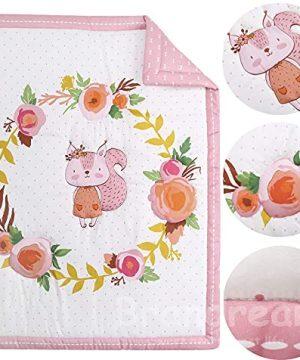 Brandream Pink White Nursery Bedding Farmhouse Floral Crib Bedding Set Girls Comforter Set With Chipmunk 4 Piece 0 0 300x360