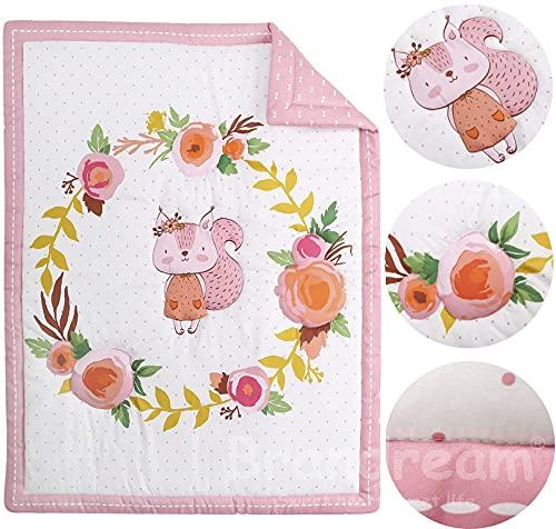 Brandream Pink White Nursery Bedding Farmhouse Floral Crib Bedding Set Girls Comforter Set With Chipmunk 4 Piece 0 0