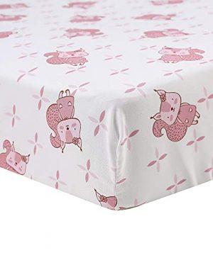Brandream Pink White Nursery Bedding Farmhouse Floral Crib Bedding Set Girls Comforter Set With Chipmunk 4 Piece 0 1 300x360