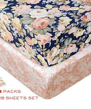 Brandream Shabby Ruffled Floral Baby Girl Crib Bedding Sets Vintage Farmhouse Country Style Nursery Bedding Set Blush Navy 100 Cotton 7PCS 0 0 300x360