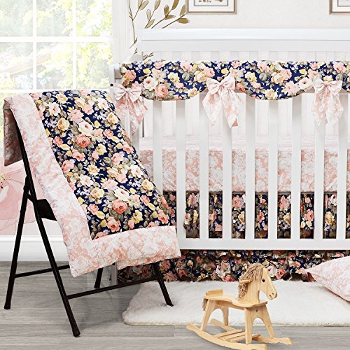 Brandream Shabby Ruffled Floral Baby Girl Crib Bedding Sets Vintage Farmhouse Country Style Nursery Bedding Set Blush Navy 100 Cotton 7PCS 0 1