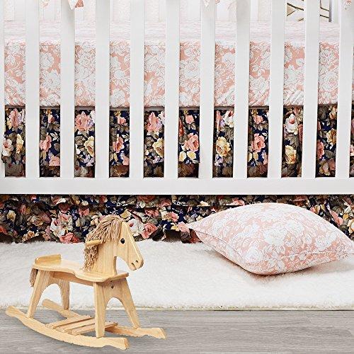 Brandream Shabby Ruffled Floral Baby Girl Crib Bedding Sets Vintage Farmhouse Country Style Nursery Bedding Set Blush Navy 100 Cotton 7PCS 0 2