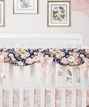 Brandream Shabby Ruffled Floral Baby Girl Crib Bedding Sets Vintage Farmhouse Country Style Nursery Bedding Set Blush Navy 100 Cotton 7PCS 0 3 300x360