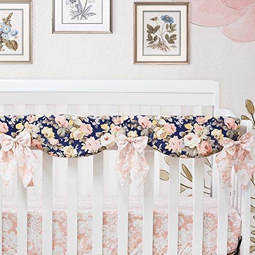 Brandream Shabby Ruffled Floral Baby Girl Crib Bedding Sets Vintage Farmhouse Country Style Nursery Bedding Set Blush Navy 100 Cotton 7PCS 0 3