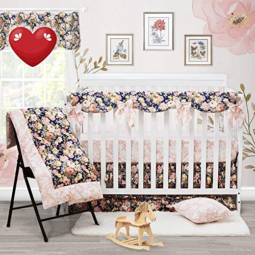 Brandream Shabby Ruffled Floral Baby Girl Crib Bedding Sets Vintage Farmhouse Country Style Nursery Bedding Set Blush Navy 100 Cotton 7PCS 0