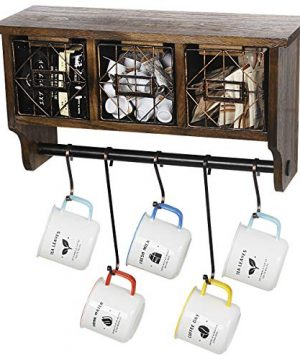 Butizone Rustic Wall Mounted Coat Rack Shelf With Hooks And Baskets Wood Coffee Mug Storage And Display Organizer Hanging Entryway Shelf For Coats Hats Towel And Keys Brown 0 300x360