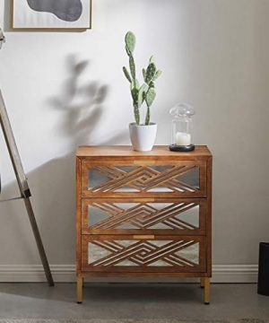 COZAYH 3 Drawer Accent Dresser With Mirror Fronts Modern Farmhouse Accent Chest Clean Lined Silhouette 0 300x360
