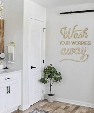 Carpenter Farmhouse Wash Your Worries Away Wooden Sign Bathroom Decor Bathroom Sign Wood Letters Unpainted 24x275 In 0 300x360