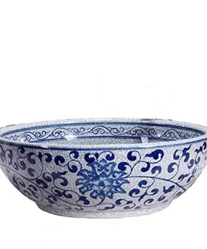 Ceramic Art Vanity Bathroom Vessel Sink White And Blue Porcelain Special Countertop Round Wash Basin For Small Cloakroom BasinJindezhen 1Sink Only 0 300x360