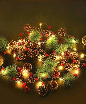 Christmas Garland With Lights MAOYUE 984Ft 20 LED Garland Lights Battery Powered With Pine Cones Red Berries Pine Needles Red Bells Christmas Decorations For Indoor Holiday New Year Wedding Party 0 300x360