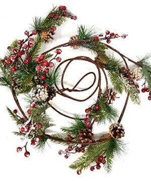 Christmas Pine Cone And Red Berry Garland Decorations 8 Feet Faux Holiday Winter Artificial Green For Kitchen Indoors Outdoors Staircase Railing Banister Door Fireplace Mantel Wreath Decor 0 300x360
