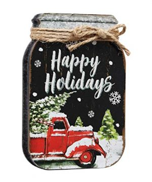 Classic Red Pickup Truck Christmas Block Box Tabletop Sign Art Home Decor Shelf Table Top Display Wall Gallery Farmhouse Stylish Decorative Accent 0 300x360