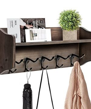 Coat Hooks With Shelf Wall Mounted Rustic Wood Entryway Shelf With 5 Vintage Metal Hooks Farmhouse Mounted Coat Rack And Upper Shelf For Storage Perfect For Your Entryway Kitchen Bathroom 0 300x360