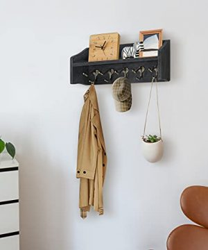 Coat Rack Wall Mount With Shelf Rustic Coat Hooks For Wall With Shelf Farmhouse Wood Entryway Shelf With 5 Vintage Metal Hooks Coat Hanger For Entryway Mudroom Living Room Bedroom Black 0 0 300x360