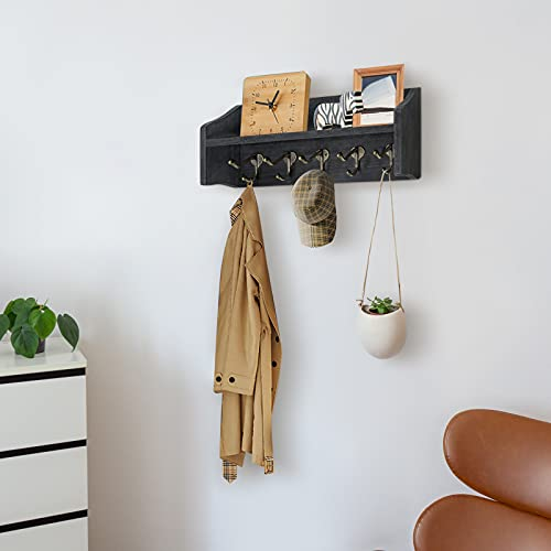 Coat Rack Wall Mount With Shelf Rustic Coat Hooks For Wall With Shelf Farmhouse Wood Entryway Shelf With 5 Vintage Metal Hooks Coat Hanger For Entryway Mudroom Living Room Bedroom Black 0 0