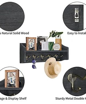 Coat Rack Wall Mount With Shelf Rustic Coat Hooks For Wall With Shelf Farmhouse Wood Entryway Shelf With 5 Vintage Metal Hooks Coat Hanger For Entryway Mudroom Living Room Bedroom Black 0 1 300x360