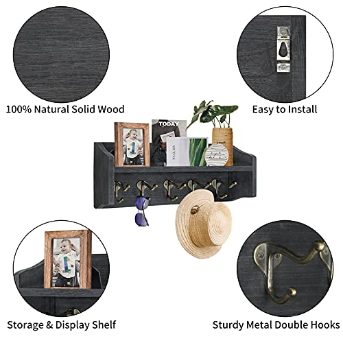 Coat Rack Wall Mount With Shelf Rustic Coat Hooks For Wall With Shelf Farmhouse Wood Entryway Shelf With 5 Vintage Metal Hooks Coat Hanger For Entryway Mudroom Living Room Bedroom Black 0 1
