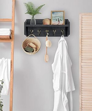 Coat Rack Wall Mount With Shelf Rustic Coat Hooks For Wall With Shelf Farmhouse Wood Entryway Shelf With 5 Vintage Metal Hooks Coat Hanger For Entryway Mudroom Living Room Bedroom Black 0 2 300x360