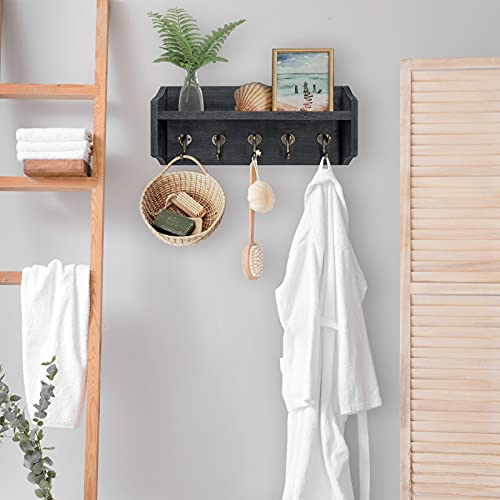 Coat Rack Wall Mount With Shelf Rustic Coat Hooks For Wall With Shelf Farmhouse Wood Entryway Shelf With 5 Vintage Metal Hooks Coat Hanger For Entryway Mudroom Living Room Bedroom Black 0 2