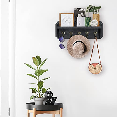 Coat Rack Wall Mount With Shelf Rustic Coat Hooks For Wall With Shelf Farmhouse Wood Entryway Shelf With 5 Vintage Metal Hooks Coat Hanger For Entryway Mudroom Living Room Bedroom Black 0 4