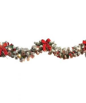 Collections Etc Lighted Christmas Frosted Pine Garland 0 300x360