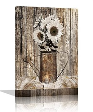 Country Sunflower Wall Art Decor For Home Rustic Farmhouse Wall Decor Canvas Print For Bedroom Living Room Kitchen Bathroom Country White Floral Picture Poster Modern Home Decor Framed Ready To Hang 0 300x360