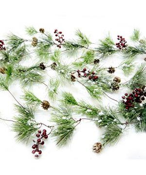 CraftMore Winter Smokey Pine Christmas Garland With Snow Berries And Pine Cones 0 300x360