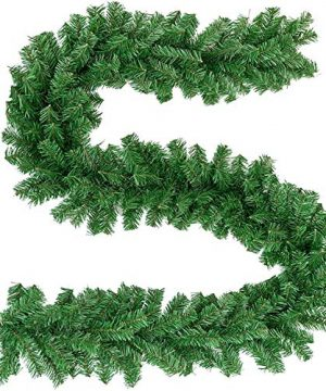 Crownland Christmas Soft Pine Garland 9 Feet Holiday Green Artificial Pine For Staircase Railing Banister Door Fireplace Mantel Wreath Decoration Indoor And Outdoor UsePack Of 12 0 300x360