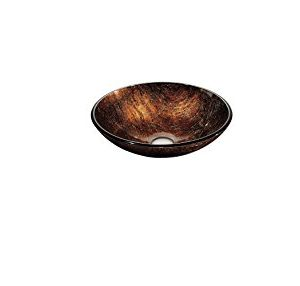 Dawn GVB86088 1R Tempered Glass Hand Painted Glass Vessel Sink Round Shape Brown 0 300x286