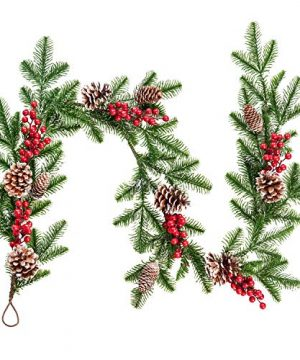 DearHouse 51FT Artificial Christmas Pine Garland With Red Berry Branch Pine Cone Winter Greenery Garland For Holiday Season Mantel Fireplace Table Runner Centerpiece Decor 0 300x360