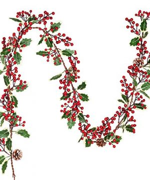 DearHouse 7FT Red Berry Christmas Garland With Pine Cone Garland Artificail Garland Indoor Outdoor Garden Gate Home Decoration Lights For Winter Holiday New Year Decor 0 300x360