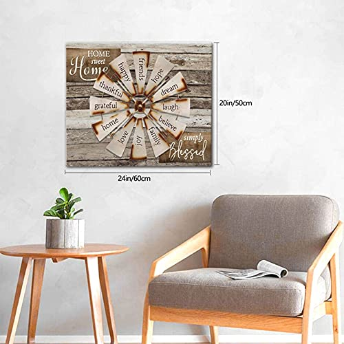 Drawpro Farmhouse Wall Art Farmhouse Windmill Canvas Print Barn Country Quotes Painting Family Artworks Home Decor For Bathroom Living Room Bedroom Framed 20x24 Inch 0 1