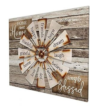 Drawpro Farmhouse Wall Art Farmhouse Windmill Canvas Print Barn Country Quotes Painting Family Artworks Home Decor For Bathroom Living Room Bedroom Framed 20x24 Inch 0 300x360
