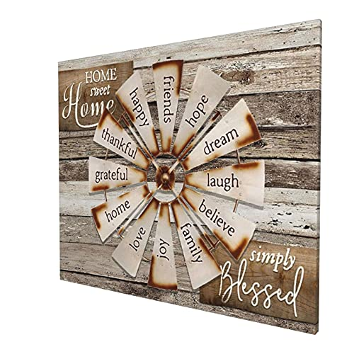 Drawpro Farmhouse Wall Art Farmhouse Windmill Canvas Print Barn Country Quotes Painting Family Artworks Home Decor For Bathroom Living Room Bedroom Framed 20x24 Inch 0