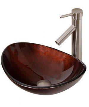 ELITE Unique Oval Artistic Bronze Tempered Glass Bathroom Vessel Sink Brushed Nickel Faucet Combo 0 300x360