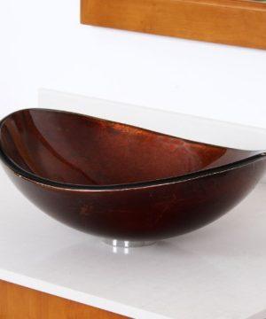ELITE Unique Oval Artistic Bronze Tempered Glass Bathroom Vessel Sink Brushed Nickel Single Lever Faucet Combo 0 2 300x360