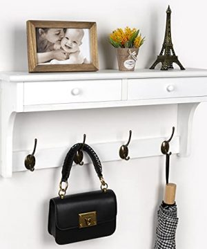 Emfogo Coat Rack Wall Mount 23 Rustic Wood Coat Hooks With Shelf Entryway Shelf Hanger With Drawer For Towels Hats Keys Or Coffee Mugs Rustic Wood Farmhouse White 0 300x360