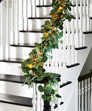 Eucalyptus Garland With Lights 6 Foot Battery Operated 120 Warm White LED Lights Artificial Leaves With Seeded Flower Bunches Summer Mantle Decoration Timer And Batteries Included 0 300x360