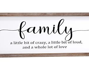 Family A Little Bit Of Crazy Inspirational Wall Art Family Sign For Farmhouse Home Wall Decor Rustic Wood Framed Wall Hanging Decor With Inspiring Quotes Home Decor Sign House Warming Presents 0 300x248